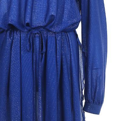 high neck shirring detail dress blue